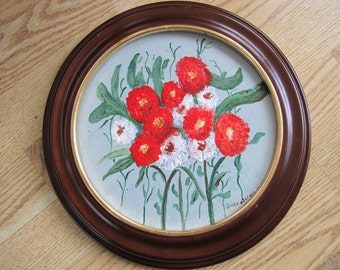 SALE Red and white flower painting / Round acrylic painting