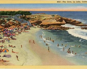 La Jolla Bathing Cove Vintage California Postcard (unused)