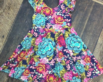 Vintage Floral Twirl Dress/Spin Dress ~ toddler Girl Birthday Dress