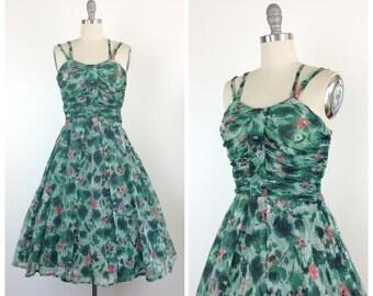 50s Green Floral Sheer Dress / 1950s Vintage Summer Sun Party Dress / Medium / Size 6
