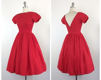 50s Red Silk Chiffon Party Dress / 1950s Vintage Valentines Day Prom Dress / Small / Size 4