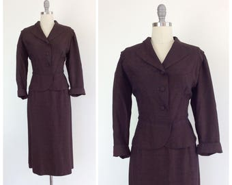 50s Brown Diamond Print Two Piece Suit / 1950s Vintage Harlequin Suit / Large / Size 12
