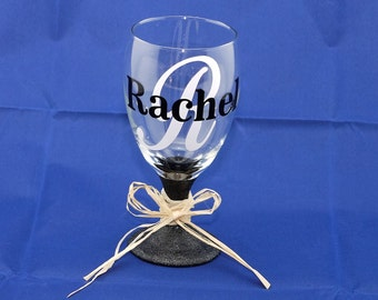 Personalized Wine Glass Goblet Glitter Bottom with Vinyl Lettering - Christmas Gift Birthday Present - Bridal Party Gift - Hostess Gift