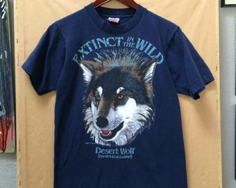 Vintage Extinct in the Wild Desert Wolf T-Shirt Made in USA 1989 Fruit of the Loom Small Canis Lupus Baileyi Cle Francis