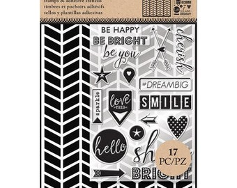 Art-C CHEVRON  Stamp & Adhesive Stencil set - NEW cc02