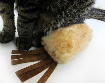 Cat Kicker, Catnip Cat Toy, Kitty Kicker, Catnip Kicker, Lil Kick Stick, Small Cat Toy Kicker, Tan Sheepskin Cat Kicker Fringe Option