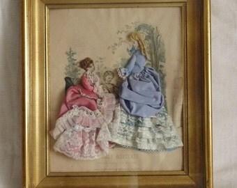 Antique Shadow Box, La Mode Illustree Dressed Print Of Mme Breant-Castel Paris 1876, Beautiful Gilded Frame 17.5 x 16.25 ins