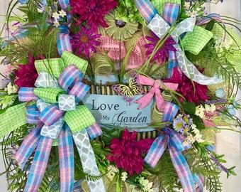 Green and Blue Wildflower Spring or Summer Mesh Door Wreath