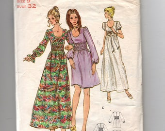 6123 Butterick Sewing Pattern Deep U Neckline Dress or Gown Sleeve Variations Size 9 32B Vintage 1970s