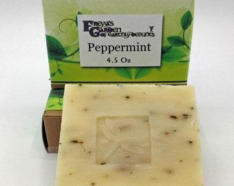 Peppermint Herbal Soap, Vegan Soap, Shea Butter Soap, All Natural Soap, Handmade Soap