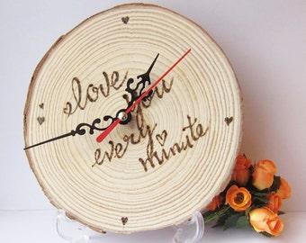 Custom Wood Desk Clock, Wood Log, DIY Clock, Wedding Gift, Wood Sign, Home Decor, Wood Burn, Love, ShineKidsCrafts