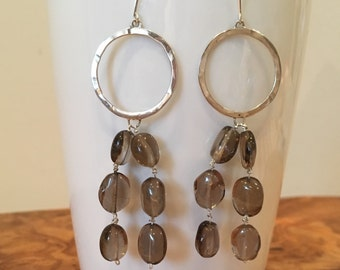 Silver circle earrings with smokey quartz