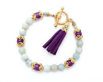 Matte Amazonite Tassel Bracelet – Aqua Blue Gemstone Gold Plated Bracelet – Purple Suede Leather Tassel – Boho Gold Bracelet