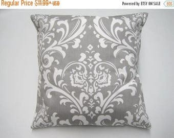 CLEARANCE Pillow Cover, Pillow, Decorative Pillow, Decorative Throw Pillow, Throw Pillow, Gray Pillow, Decorative Couch Pillow, Gray Damask