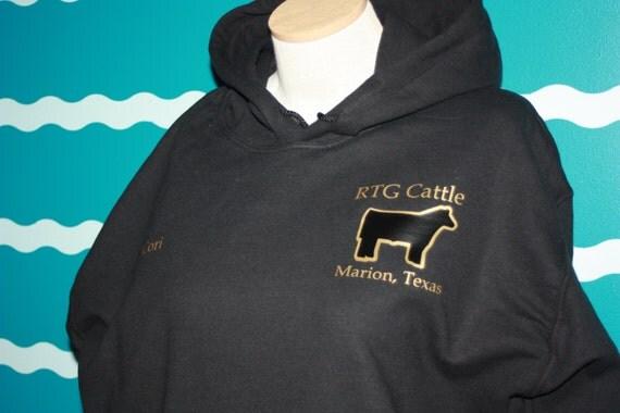 Custom Farm hooded sweatshirt - Personalized hoodie sweatshirt - Custom Cattle Farm hooded sweatshirt - Two tone steer sweatshirt