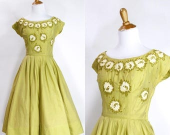 Vintage 1950s Dress | 50s Floral Beaded Appliqué Party Dress | Chartreuse Green | S M