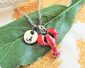 RED LOBSTER NECKLACE - personalized with initial charm - choice of chains - lobster measures about 3/4 inch