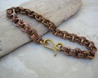Solid Bronze Bracelet,  Bronze Chainmaille Bracelet, Men's Large Chain Bracelet,  Chunky Bracelet, Bronze Bracelet, Rugged Bracelet, Arret