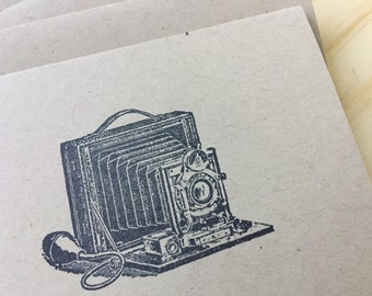 vintage inspired folded note cards and envelopes, stationery set, vintage camera, set of 10