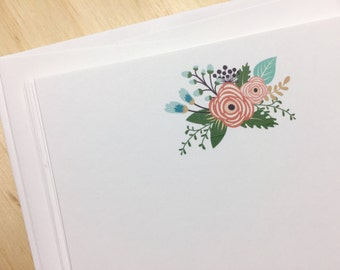 vintage floral note card set, flat note cards and envelopes, flower stationery, flowers, hostess gift