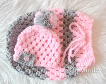 Baby Girl Cocoon, Pink and Gray Newborn Cocoon, Crochet Baby Cocoon and Pompom Hat, Baby Girl Set, Coming Home Outfit, Hospital Baby Set