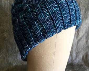 Blue Cabled Beanie