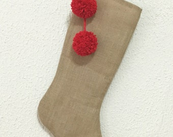 Burlap Christmas Stocking| Rusted Stocking| Rusted Christmas Stocking| Pom Pom Christmas Stocking| Red Pom Pom Stockings