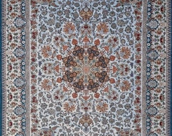 Grand Masterpiece Isfahan Sky Blue Persian Rug 10x13 95% Silk with silk base amazing and unique color