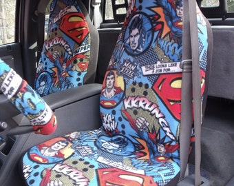 1 Set of Superman Flying Print  Car Seat Coves and Steering Wheel Cover, custom made.