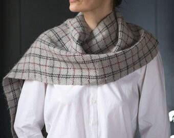 Bolivian alpaca Wool Scarf Sandy - Tiny Stripes Scarf Warm - Unisex Wool Scarf Handmade  - Retro Fashion Scarf checkered Her of Him
