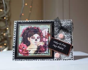 Día de los Muertos Handmade Birthday Card, Large Card, Goth, Emo, Voodoo, Unusual Crafted Card