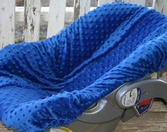 royal blue minky infant car seat base cover only