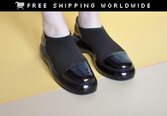 90s grunge shoes slip on shoes patent by measurethetreasure