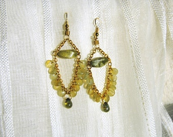 Green and Gold Chandelier Earrings