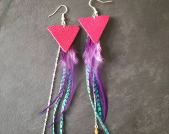 Earrings leather and feathers