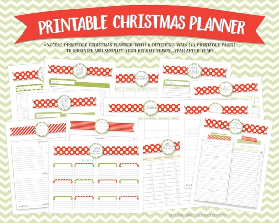 Christmas Planner and Organizer Bundle - Printable Holiday Planner/Kit