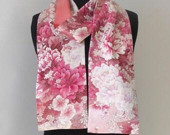 Silk Kimono Scarf, Amazing Japanese Vintage Versitile Scarf, Vintage Yuzen-dyed Silk, Gift Scarf, Pink Peony