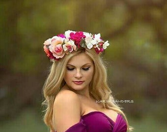 FLOWER CROWN/ HALO/ Head Wreath/ Bridal/ Photography Prop/ side leaning/ Woodland Grapevine Floral Crown Yellow Cream & pink