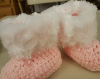 Baby Booties in Pink and White fur, 3 months
