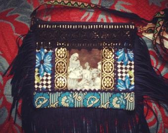 vintage photo fringe bag