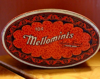 Vintage Mellomints Candy Tin 1030's Brandle & Smith Co.