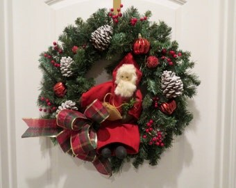 Christmas Wreath, Traditional Christmas Wreath, Rustic Christmas, Santa, Old World Santa, St. Nick, Pine Wreath, Father Noel FREE SHIP