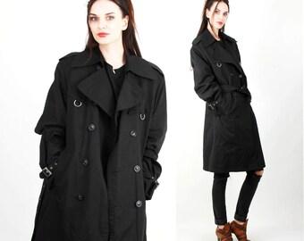Men Trench Coat / Black Jacket / Vintage 80s Coat / Spring jacket / Belted Jacket Size L