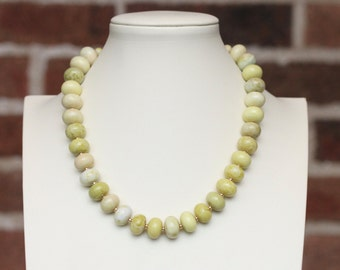 colorful statement necklace / yellow green necklace /  serpentine gemstone jewelry / fresh color choker necklace / fashion necklace #819