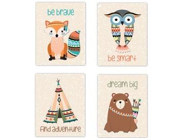 Tribal Woodland Baby Nursery Art Fox Bear Owl Teepee Forest Friends Baby Boy Nursery Decor Prints Be Brave Smart Dream Big Find Adventure