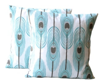 One teal feathers pillow covers, cushion, decorative throw pillow, decorative pillow, accent pillow, pillow case