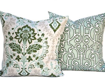Two Floral pillow covers,  Home decor, decorative pillow, throw pillow, Green pillow, Sage Pillow,  hunters green pillow, Geometric Pillow