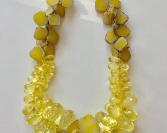 Yellow Agate Slice Chunky Statement Necklace with Faceted Yellow Drops