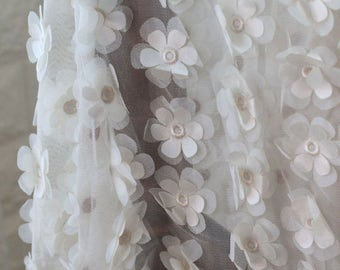 Ivory 3D Flowers Lace Fabric Daisy Flowers Fabric Dress Bridal Veil Floral Lace Fabric 59 Inches Wide 1 Yard