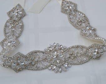 Ivory Wedding Sash- Bridal Sash- Crystal Rhinestone Belt-Bridal Belt- Special Occasion Sash-Sash-Rhinestone Sash-Beaded bridal sash